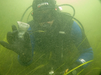 Jonathan Benjamin excavating at Helnaes Bay